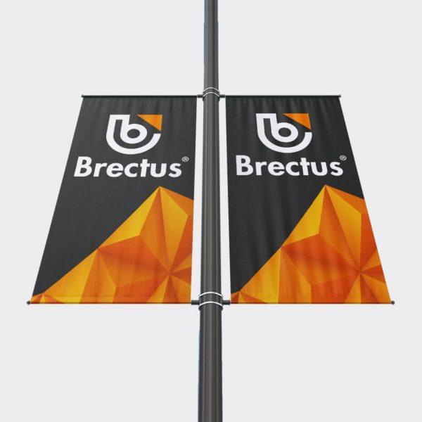 Bannerarm flagg på stolpe Dobbel