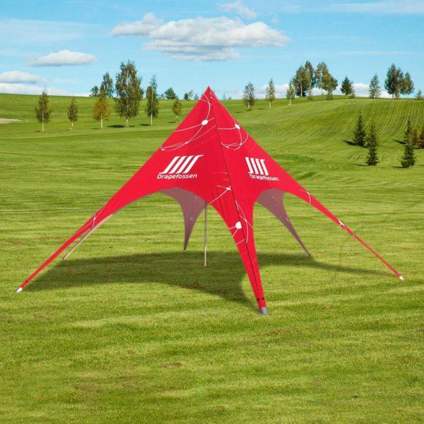 Stjernetelt – Messetelt rød i miljø