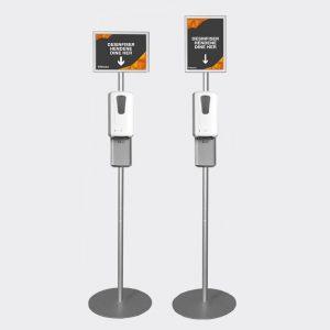 Dispenser med gulvstativ og plakatramme